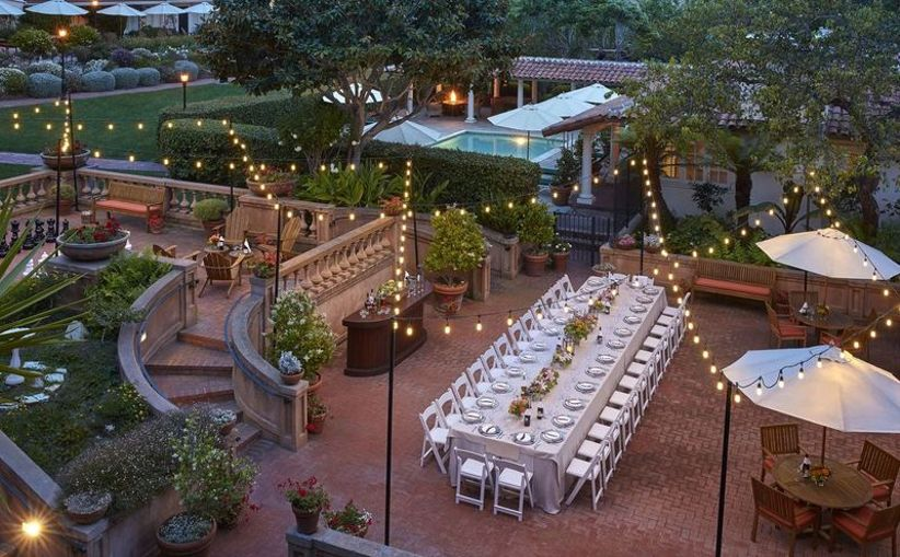 outdoor wedding reception at La Playa Carmel Hotel, California