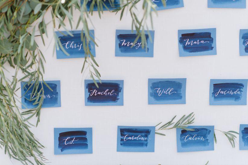 blue watercolor wedding escort cards
