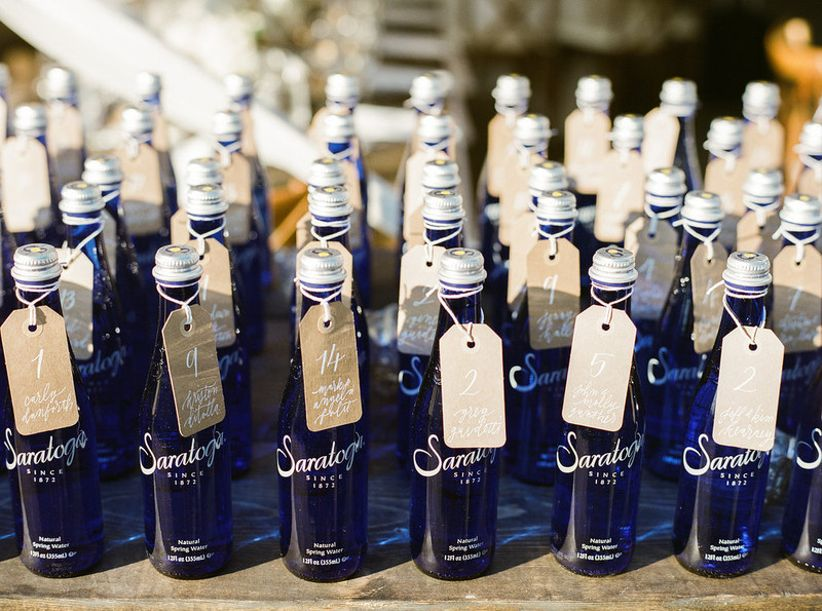 creative wedding escort cards Saratoga bottled water