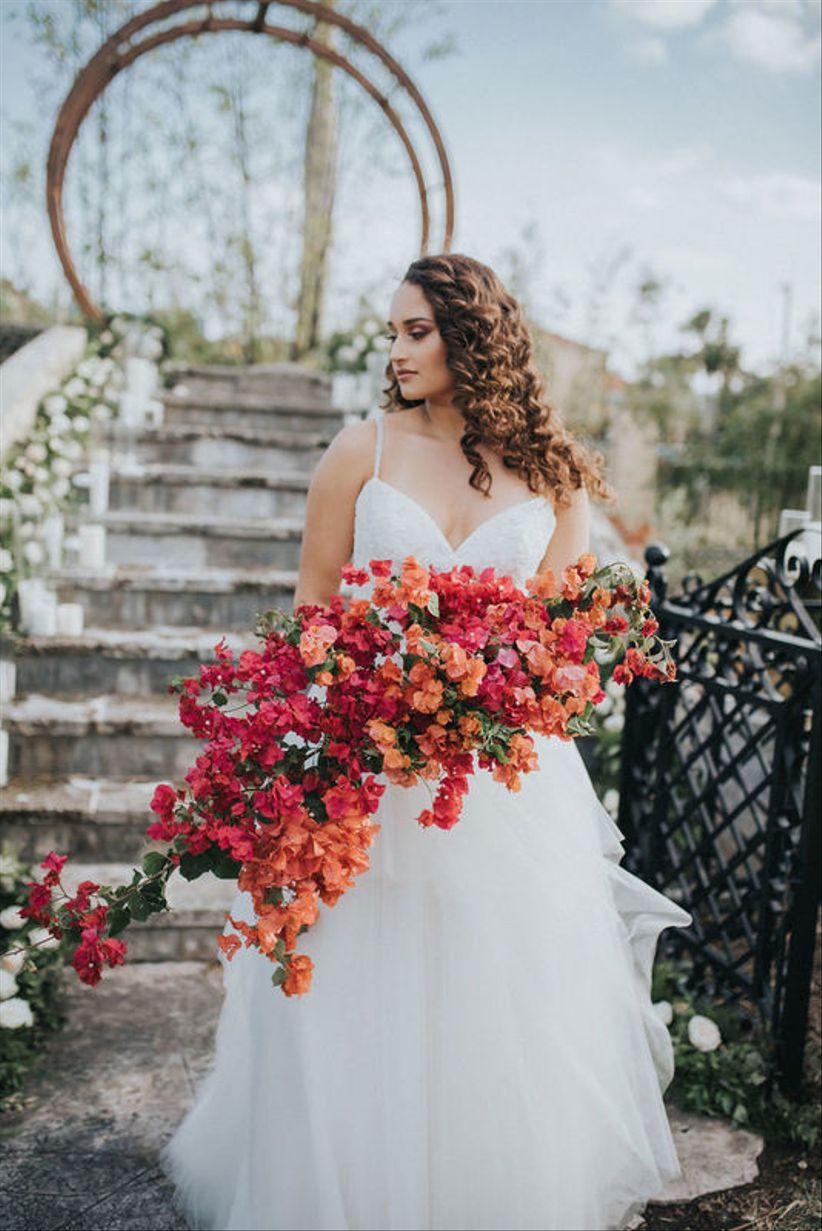 pink and orange bougainvillea wedding bouquet