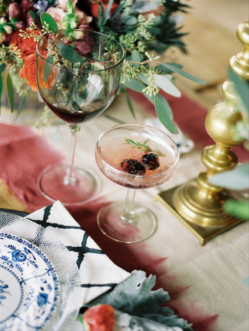 wedding cocktail with blackberries