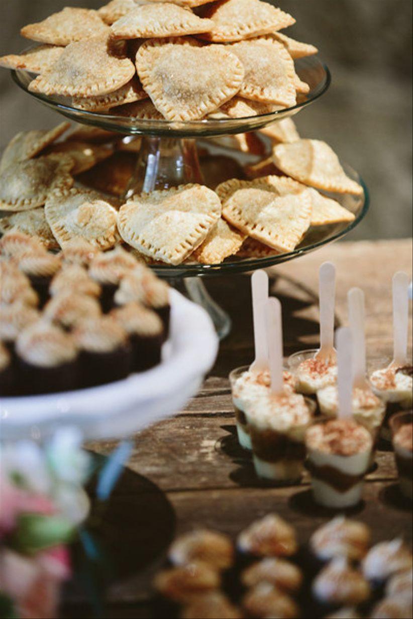 wedding dessert bar with mini pies