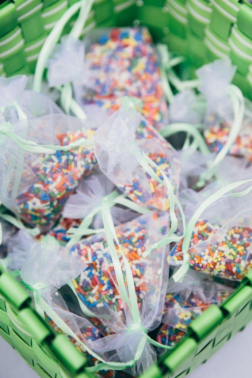 rainbow sprinkles wedding exit tos