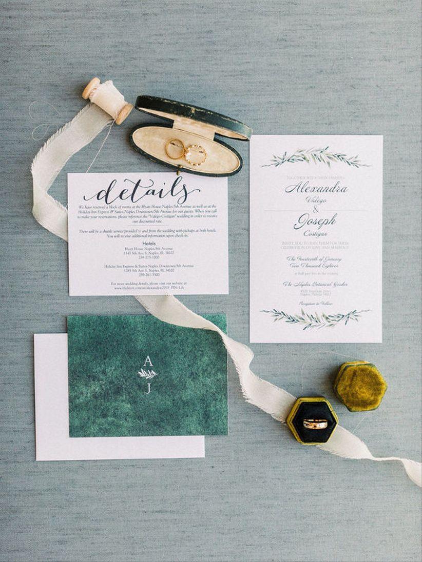 emerald green wedding invitations and velvet ring box