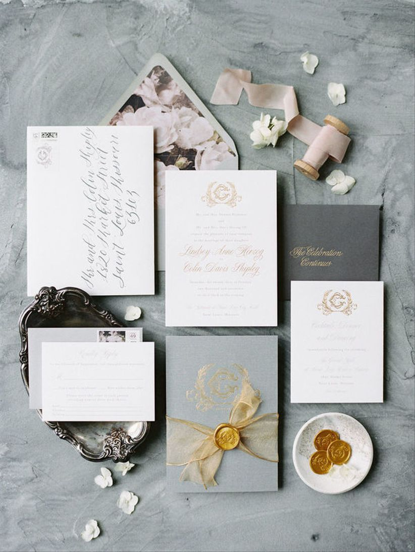 mauve and gray wedding invitations