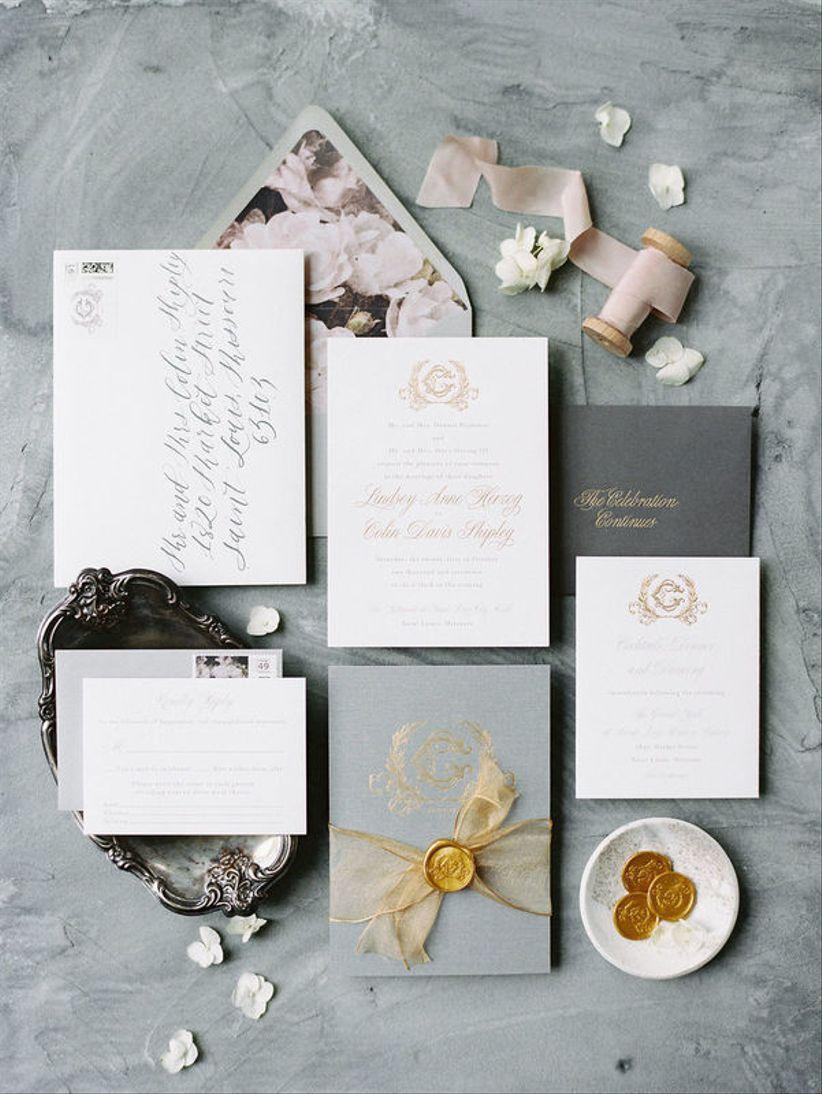 mauve and gray wedding invitations