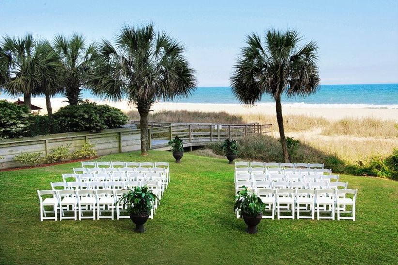 outdoor wedding ceremony at The Breakers Resort in Myrtle Beach with ocean view