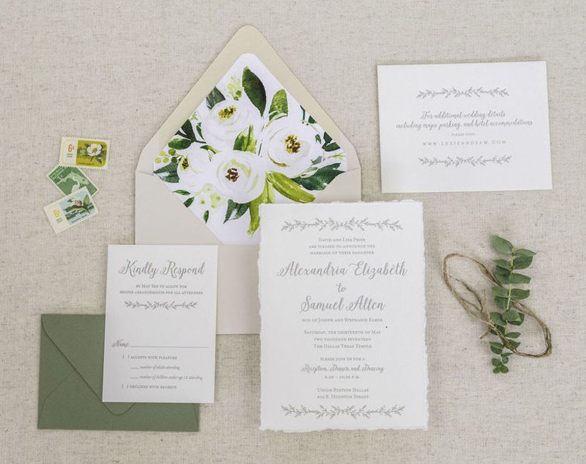 earthy wedding invitations with watercolor flowers