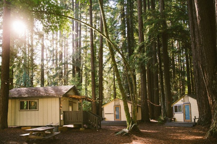 Redwood forest wedding venue with cabins and campground