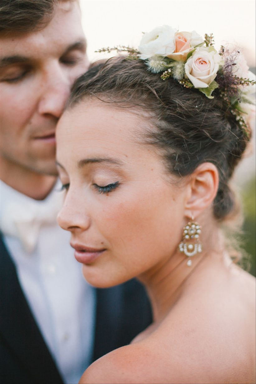 natural wedding makeup and updo with flowers