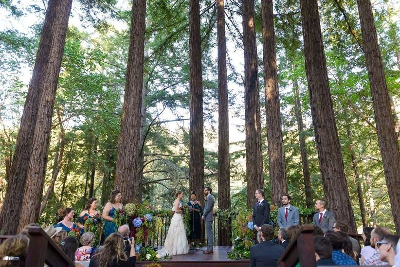 outdoor wedding ceremony redwood forest California