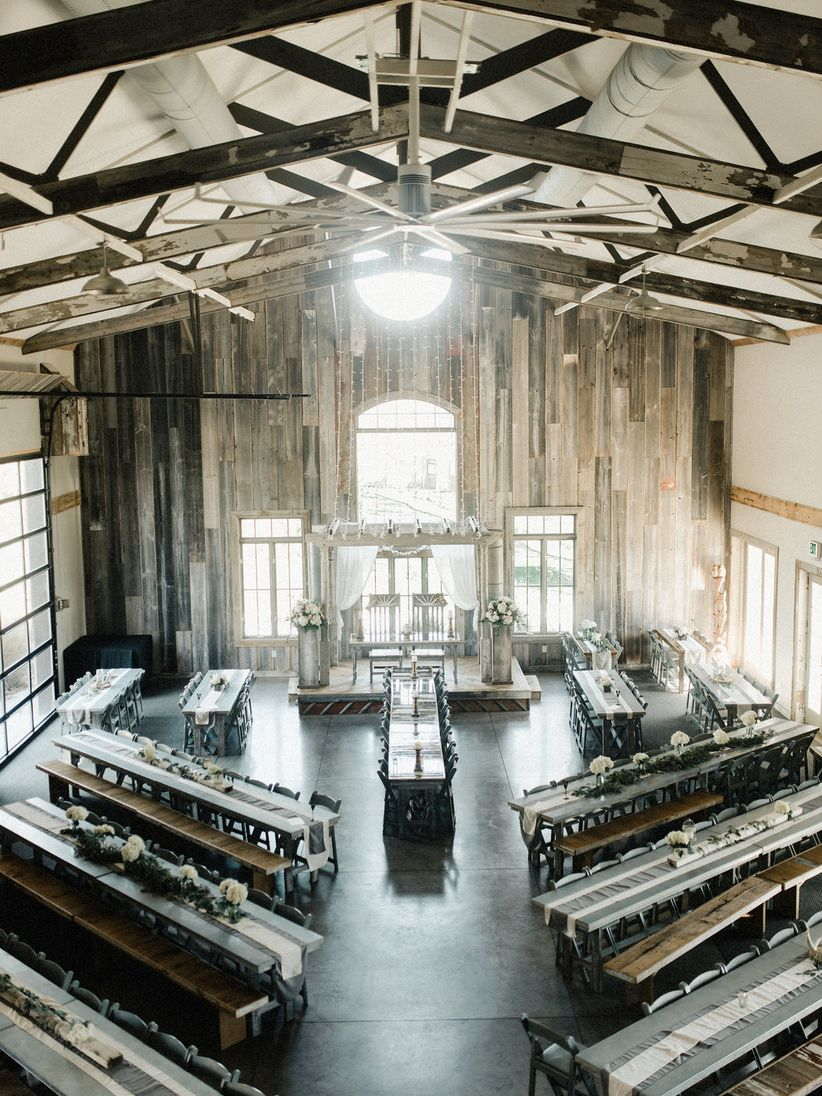 modern barn wedding reception