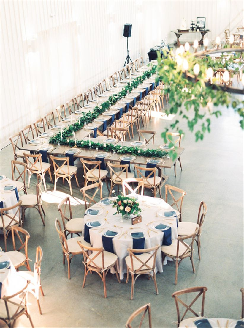 round and rectangular wedding banquet tables with X-back chairs