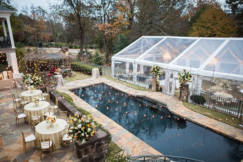 outdoor wedding reception idea with clear-top tent