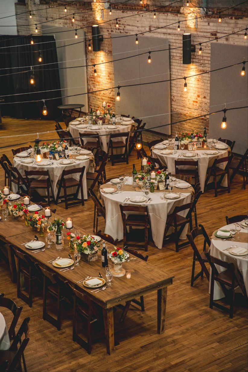 mix-and-match wedding layout with round and rectangle tables