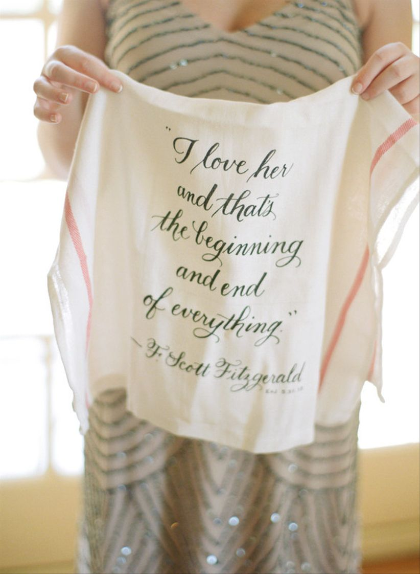 wedding favor ideas custom tea towel with calligraphy quote F. Scott Fitzgerald