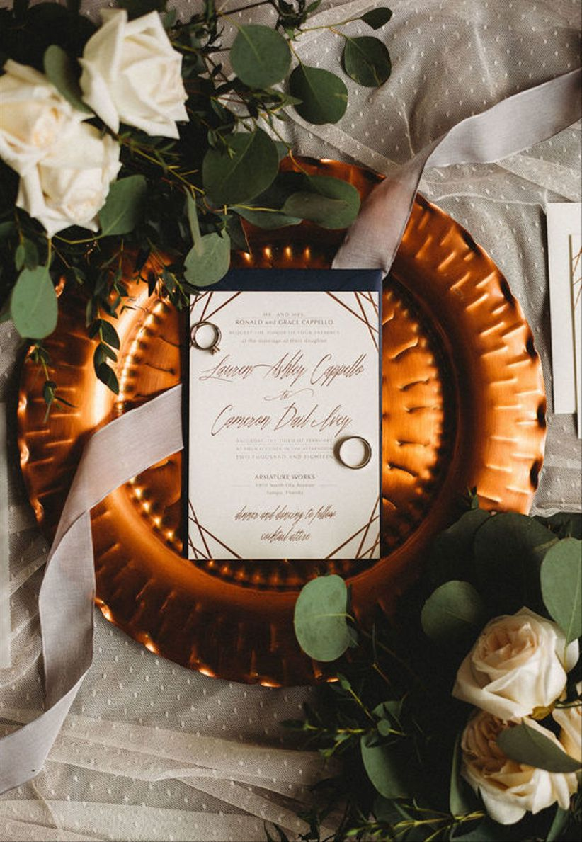 copper and gray wedding colors