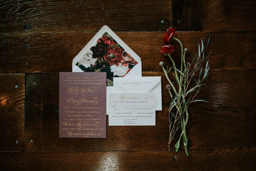 moody wedding invitations with floral envelope liner