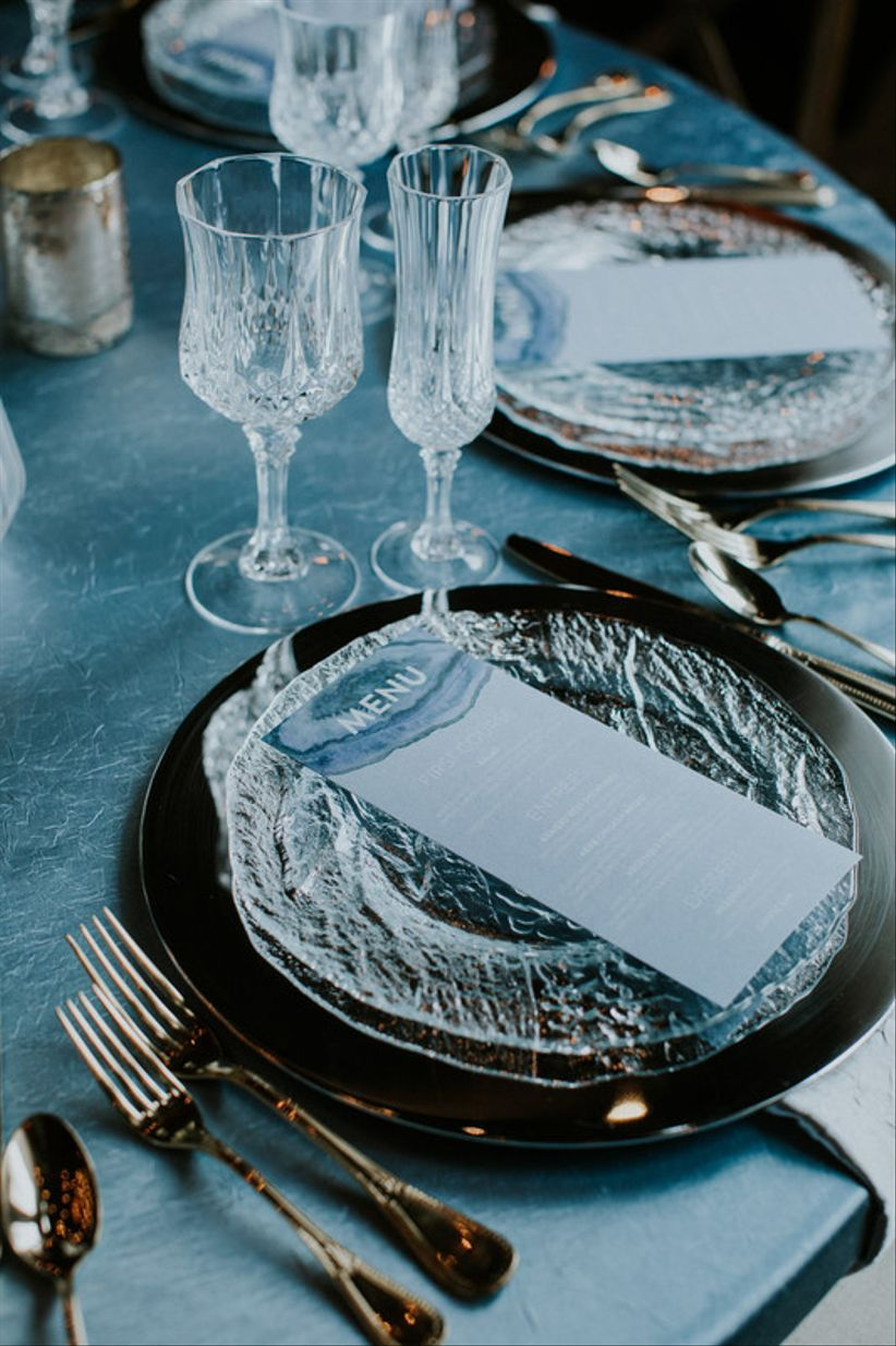 modern silver and blue winter wedding decor