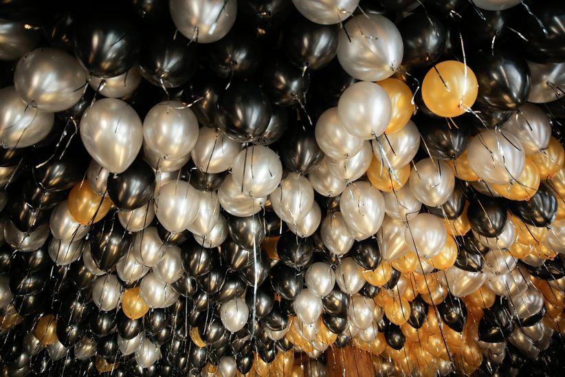 metallic balloons new year's eve wedding