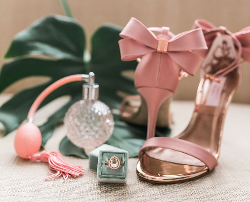 pink bow wedding shoes and green velvet ring box