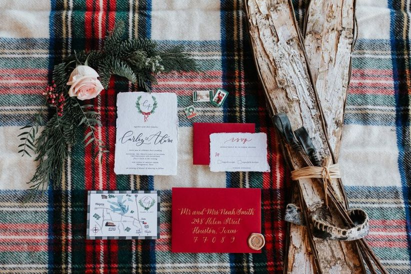 winter wedding invitations white red and gold