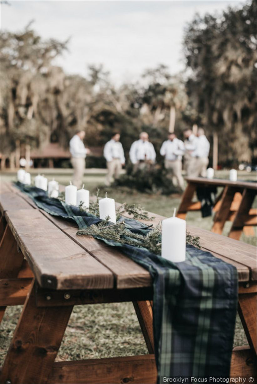 plaid tartan table runner on wooden picnic table