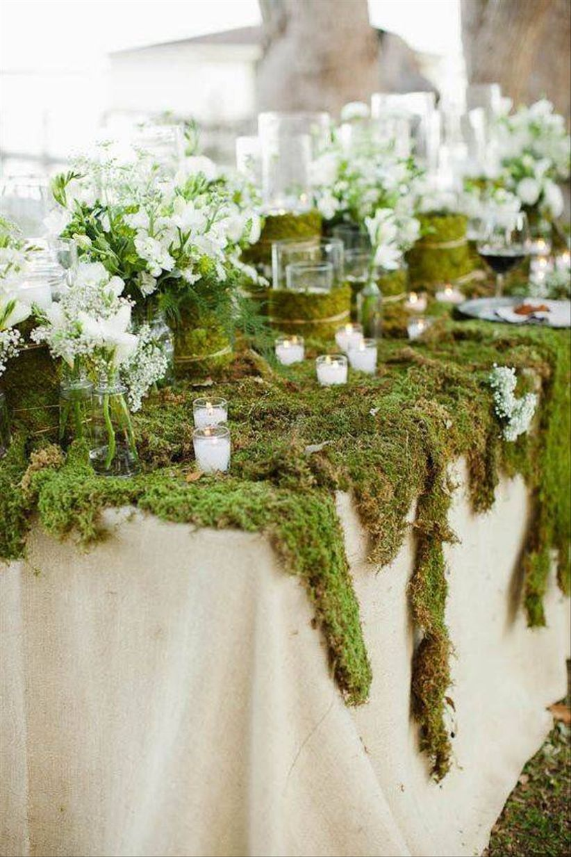 decorative reception table covered with moss on top and trailing down the sides