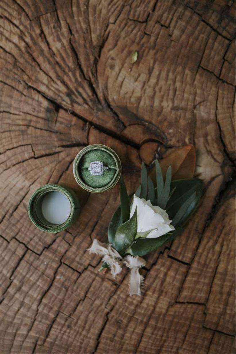 green velvet ring box