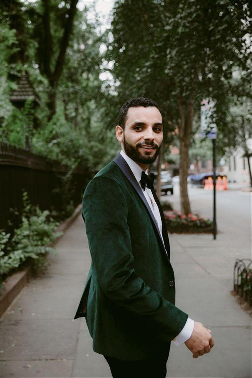 dark green velvet tuxedo jacket