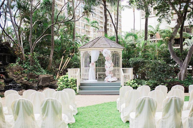 wedding gazebo in hotel garden courtyard