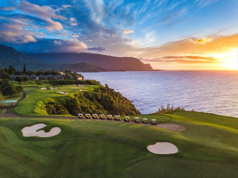 aerial view of princeville makai golf club in kauai, hawaii