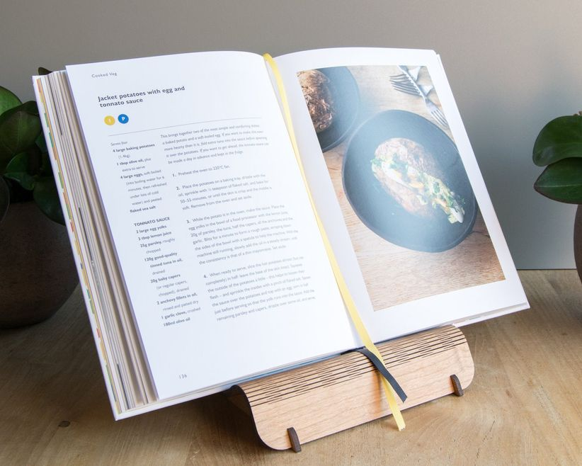 Salvaged cherry plywood recipe book and tablet stand