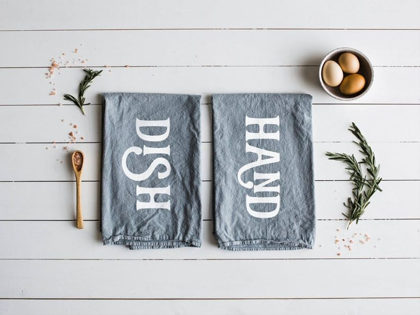 Hand and Dish tea towels housewarming gift for couples
