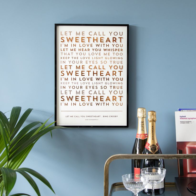 Custom lyrics art print housewarming or wedding gift for couples