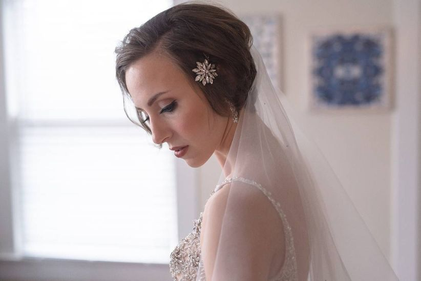bride with updo and crystal barrette