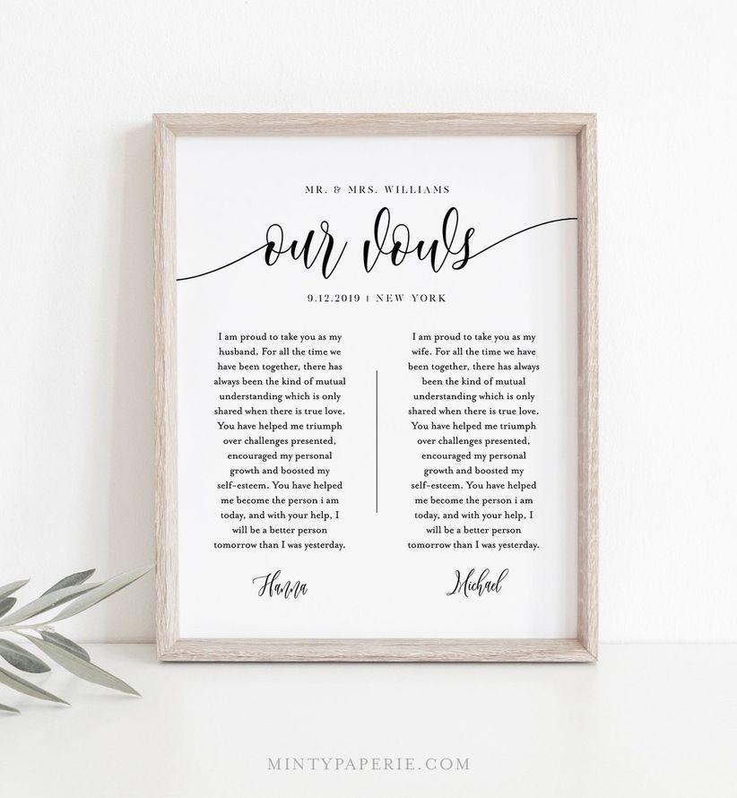 vows framed