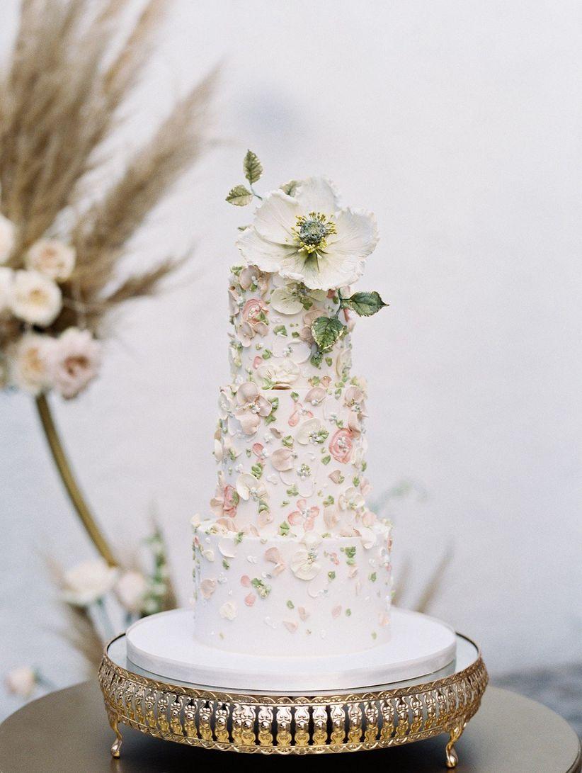 2021 wedding cake trend hand-painted wedding cake