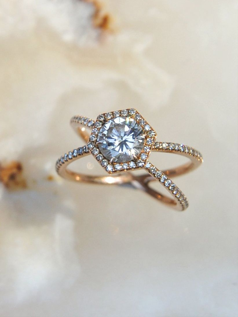 round and hexagon engagement ring