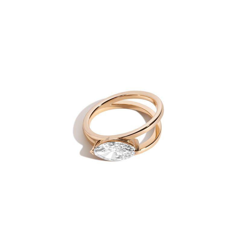 marquise cut v setting engagement ring