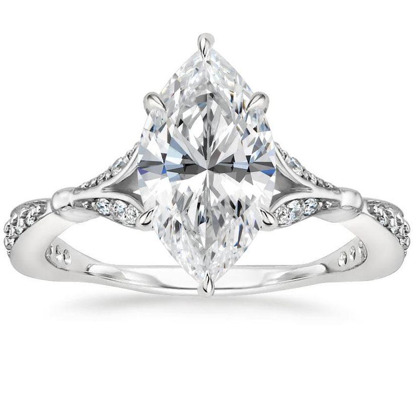 asscher cut and split shank engagement ring