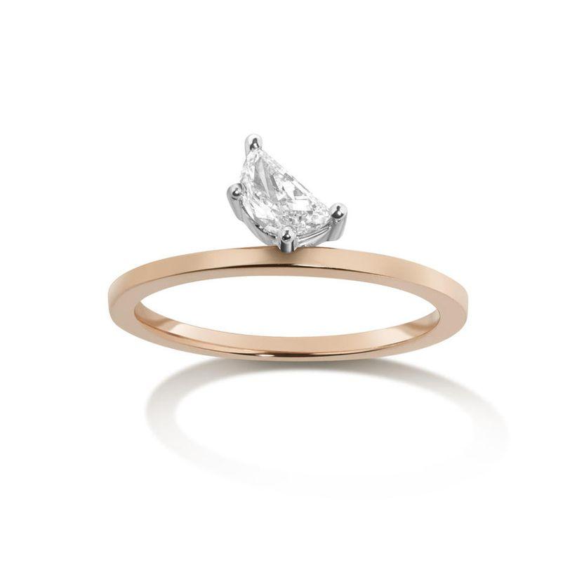 half moon cut prong set engagement ring