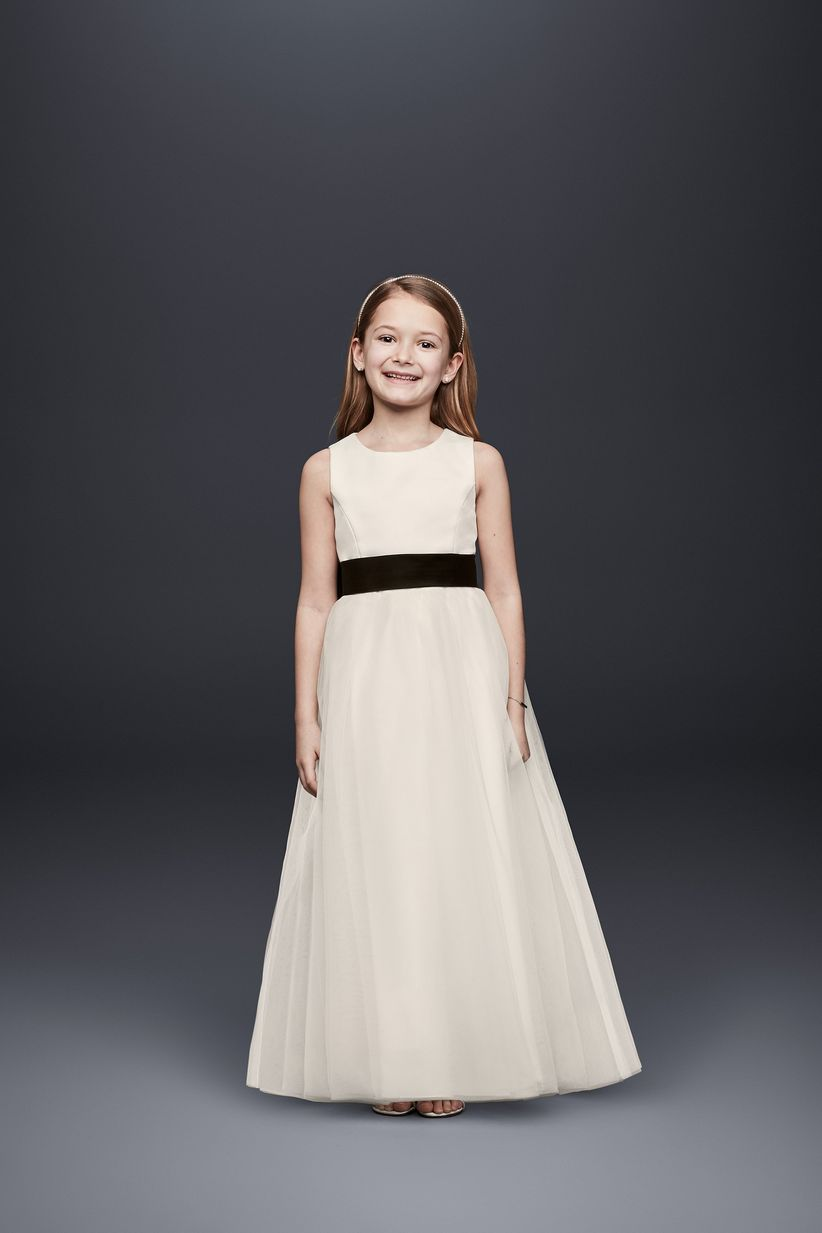 ba80b4fb27dd 13 Flower Girl Dresses to Match Your Bridal Party Style - WeddingWire