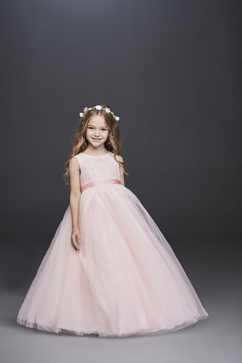 e1dd12b7371 Floral lace and a full tulle skirt create a timeless flower girl dress  style that s oh-so adorable. Just add a ribbon sash (perhaps in a hue from  your color ...