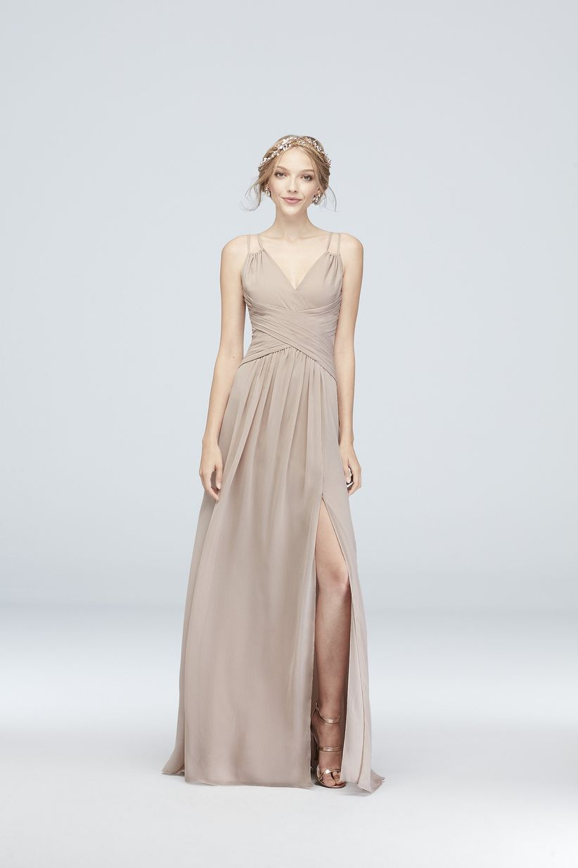 9a5cc6ba23 Looking for a classic bridesmaid dress with a romantic twist  This timeless  pink chiffon gown features relaxed flutter sleeves and a darling ribbon ...