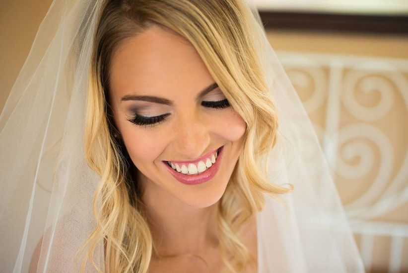 bride with smokey eyes
