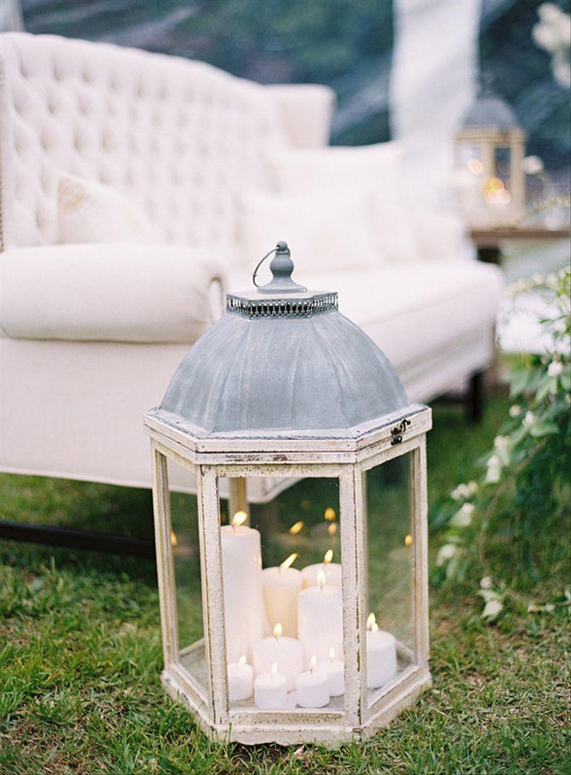 vintage wedding theme decor white pillar candles in wooden glass hurricane lamp