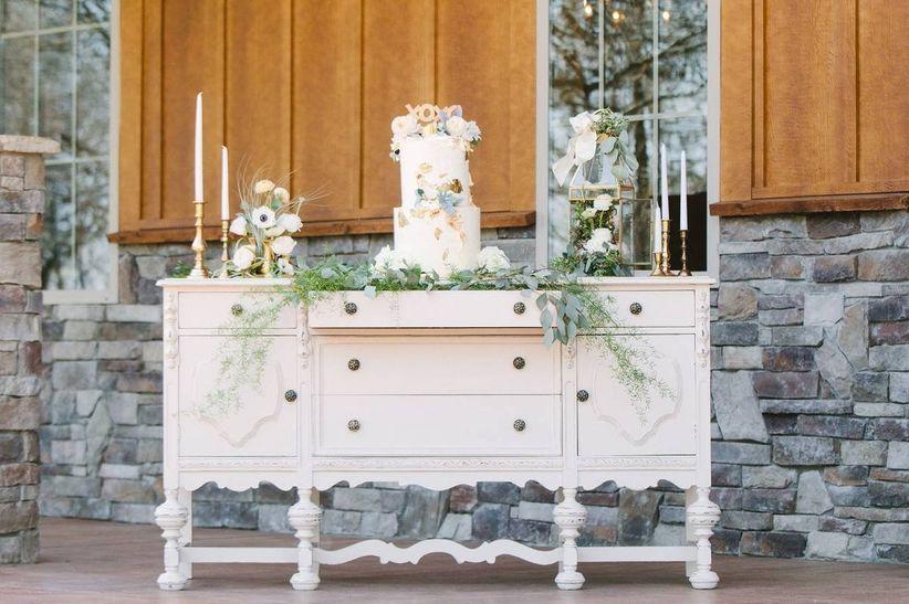 vintage wedding theme cake display using antique dresser