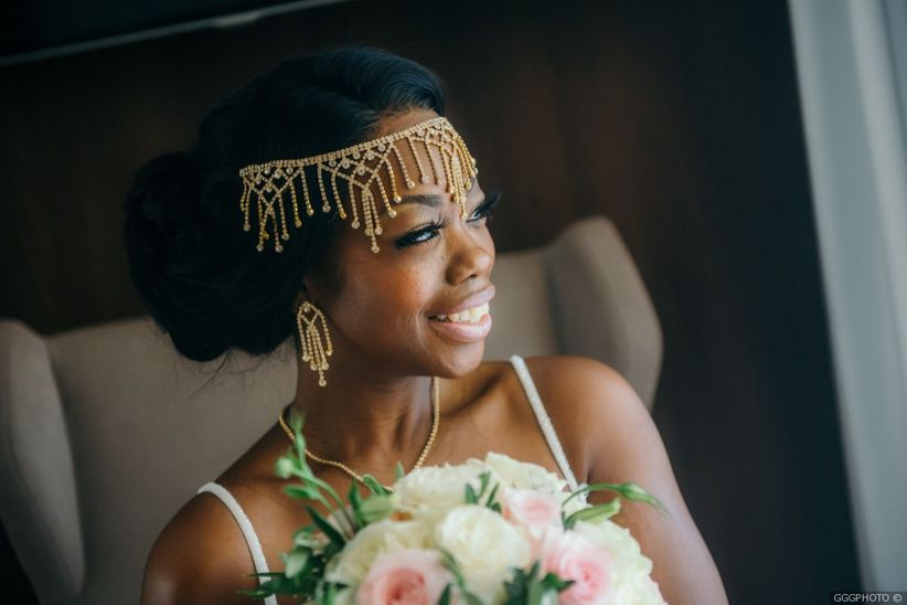 bride with gold headpiece