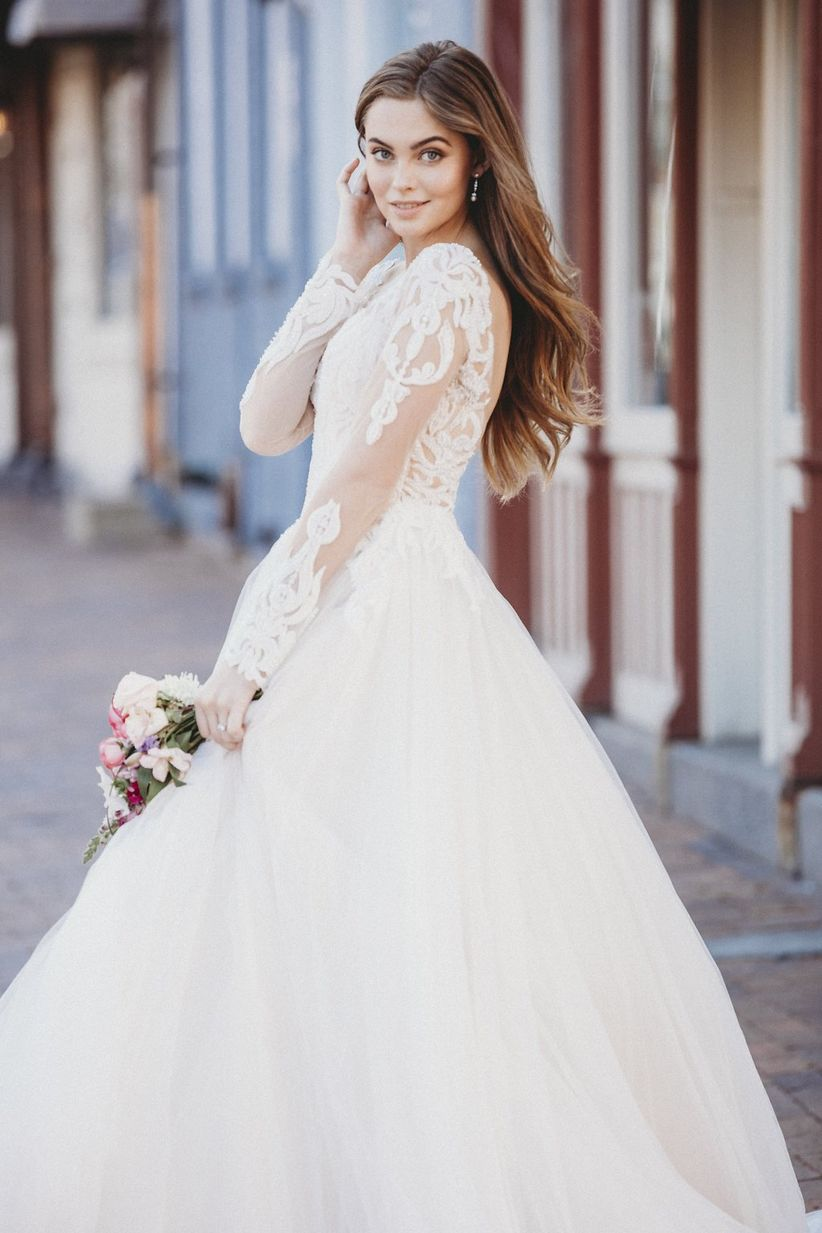 illusion sleeve wedding dress